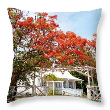 Poinciana Cottage Throw Pillow by Amar Sheow
