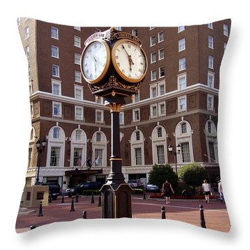 Poinsett Hotel Greeenville Sc Throw Pillow by Flavia Westerwelle