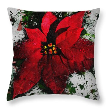 Throw Pillow featuring the digital art Poinsettia by Charlie Roman