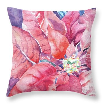 Poinsettia Glory Throw Pillow