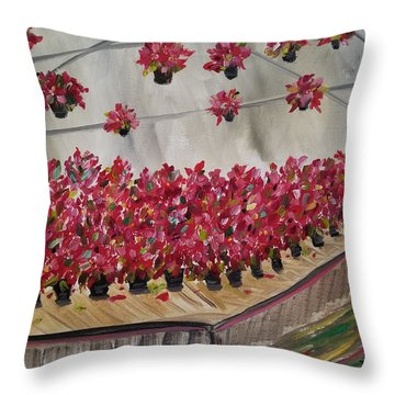 Throw Pillow featuring the painting Poinsettia Greenhouse by Judith Rhue