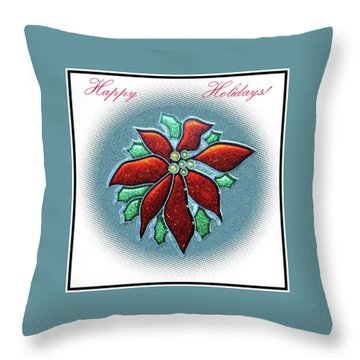 Throw Pillow featuring the digital art Poinsettia Holiday by Ellen Barron O'Reilly