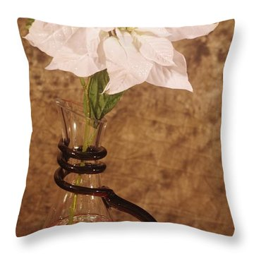 Poinsettia In Pitcher  Throw Pillow