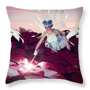 Throw Pillow featuring the digital art Poinsettia Snow Fairy by Methune Hively