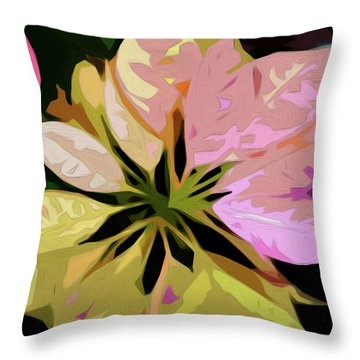 Throw Pillow featuring the digital art Poinsettia Tile by Gina Harrison