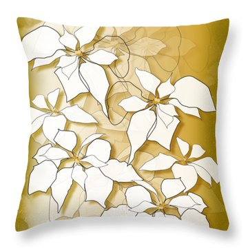 Throw Pillow featuring the digital art Poinsettias by Gina Harrison
