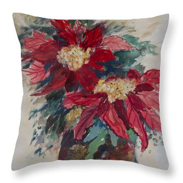 Throw Pillow featuring the painting Poinsettias In A Brown Vase by Avonelle Kelsey