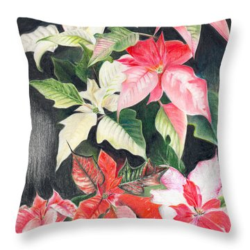 Poinsettias Throw Pillow