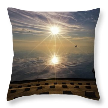 Throw Pillow featuring the photograph Point Betsie 2 by Heather Kenward
