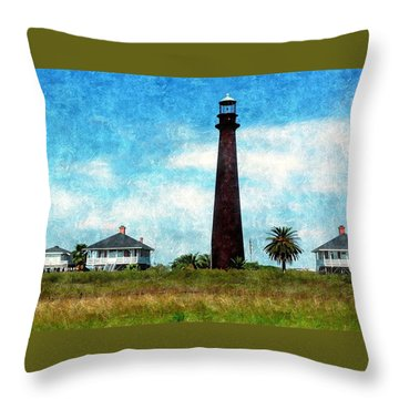 Point Bolivar Lighthouse 1872 Throw Pillow