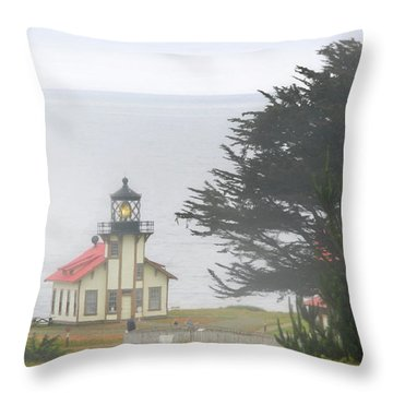 Point Cabrillo Light Station Ca - Lighthouse In Damp Costal Fog Throw Pillow by Christine Till
