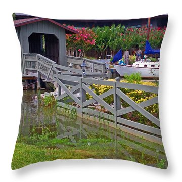 Point Clear Bridge At Grand Hotel Throw Pillow