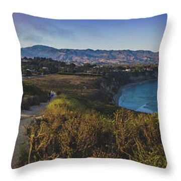 Point Dume Sunset Panorama Throw Pillow