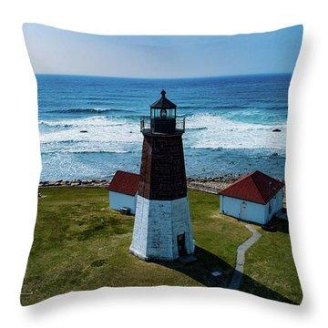 Point Judith Lighthouse Throw Pillow