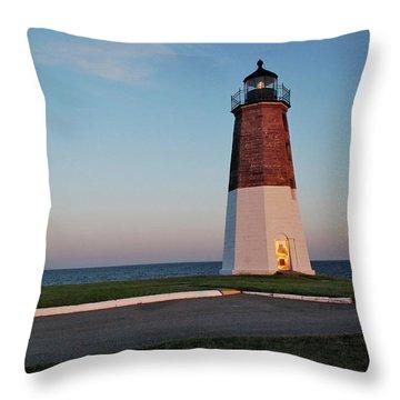 Point Judith Lighthouse Rhode Island Throw Pillow by Nancy De Flon