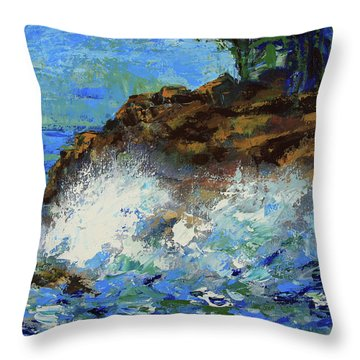 Throw Pillow featuring the painting Point Lobos Crashing Waves by Walter Fahmy