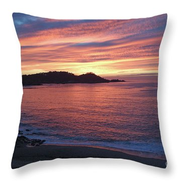 Point Lobos Red Sunset Throw Pillow
