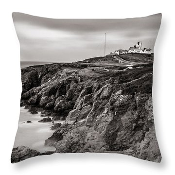 Point Lynas Lighthouse In Llaneilian On Anglesey Throw Pillow
