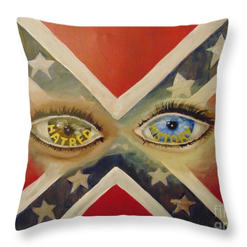 Throw Pillow featuring the painting Point Of View by Saundra Johnson