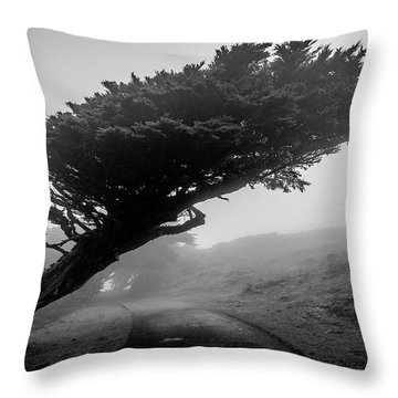 Point Reyes Fog Black And White Throw Pillow