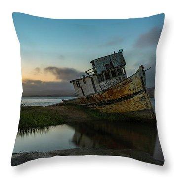 Point Reyes Shipwreck Sunset Throw Pillow