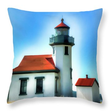 Point Robinson Lighthouse Throw Pillow by Greg Sigrist