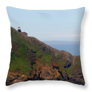 Point Sur Lighthouse Ca  Throw Pillow by Christine Till