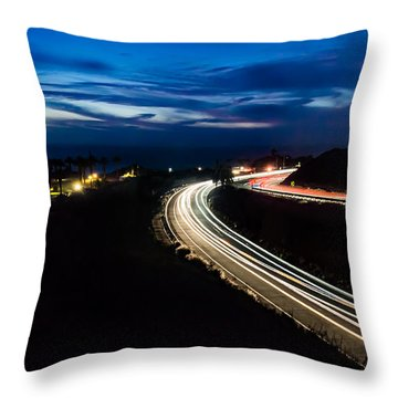 Point Vincente Light Trails Throw Pillow by Ed Clark