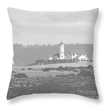 Point Wilson Lighthouse And Sailboat Throw Pillow