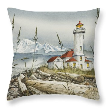 Point Wilson Lighthouse Throw Pillow by James Williamson