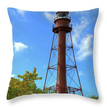 Throw Pillow featuring the digital art Point Ybel Lighthouse by Sharon Batdorf