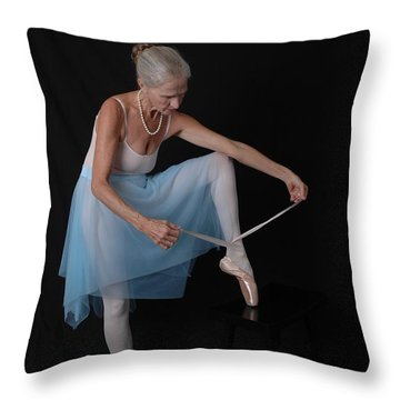 Throw Pillow featuring the photograph Pointe Preparation by Nancy Taylor