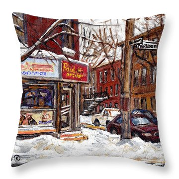 Pointe St Charles Montreal Winter Scene Painting Paul Patates Restaurant At Coleraine And Charlevoix Throw Pillow