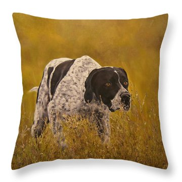 Pointer...to The Point....... Throw Pillow by Erna Goudbeek