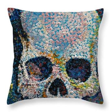 Pointillism Skull Throw Pillow