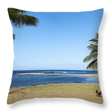 Poipu Beach Throw Pillow by Kelley King