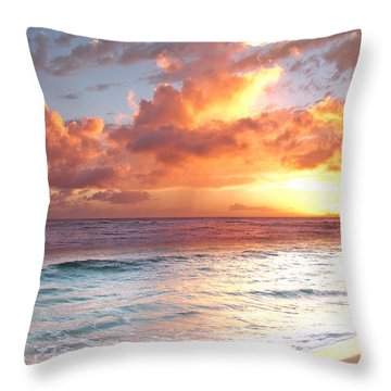 Poipu Beach Sunset Throw Pillow by Roger Mullenhour