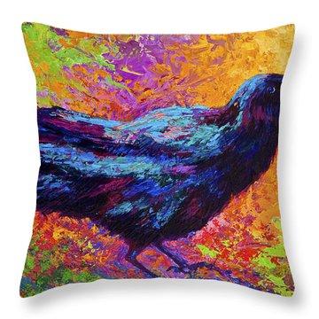 Poised - Crow Throw Pillow
