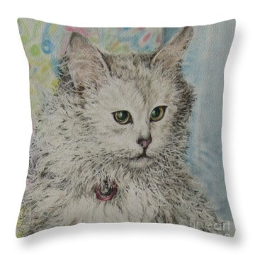 Poised Cat Throw Pillow by Kim Tran