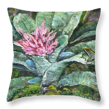 Poison Dart Frog On Bromeliad Throw Pillow