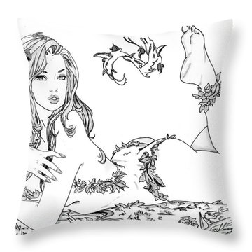 Poison Ivy - Grayscale Throw Pillow by Bill Richards