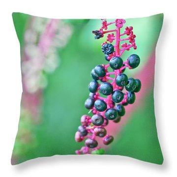 Poke Berries Throw Pillow