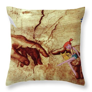 Throw Pillow featuring the digital art Pokeangelo Sistine Chapel by Greg Sharpe