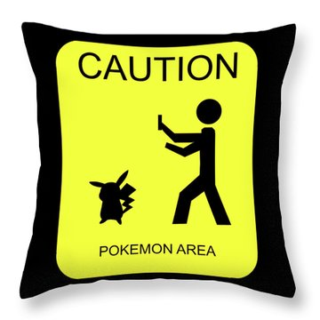 Throw Pillow featuring the digital art Pokemon Area by Shane Bechler