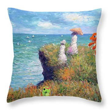 Throw Pillow featuring the digital art Pokemonet Seaside by Greg Sharpe