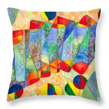 Poker Abstract Watercolor Throw Pillow