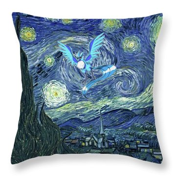 Throw Pillow featuring the digital art Pokevangogh Starry Night by Greg Sharpe