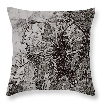 Pokeweed Throw Pillow by Linda Shafer