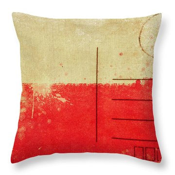 Poland Flag Postcard Throw Pillow by Setsiri Silapasuwanchai