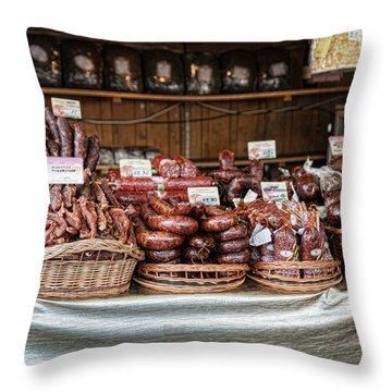 Poland Meat Market Throw Pillow
